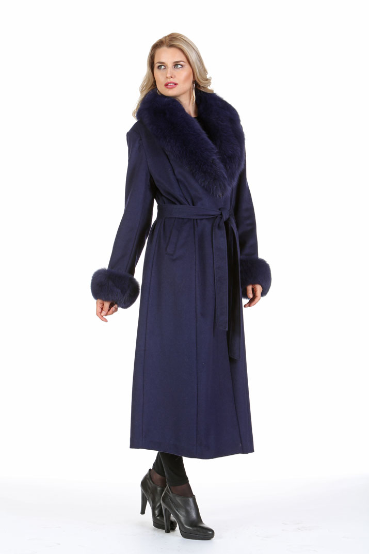 Navy Women's Cashmere Coat - Navy Fox Collar and Cuffs