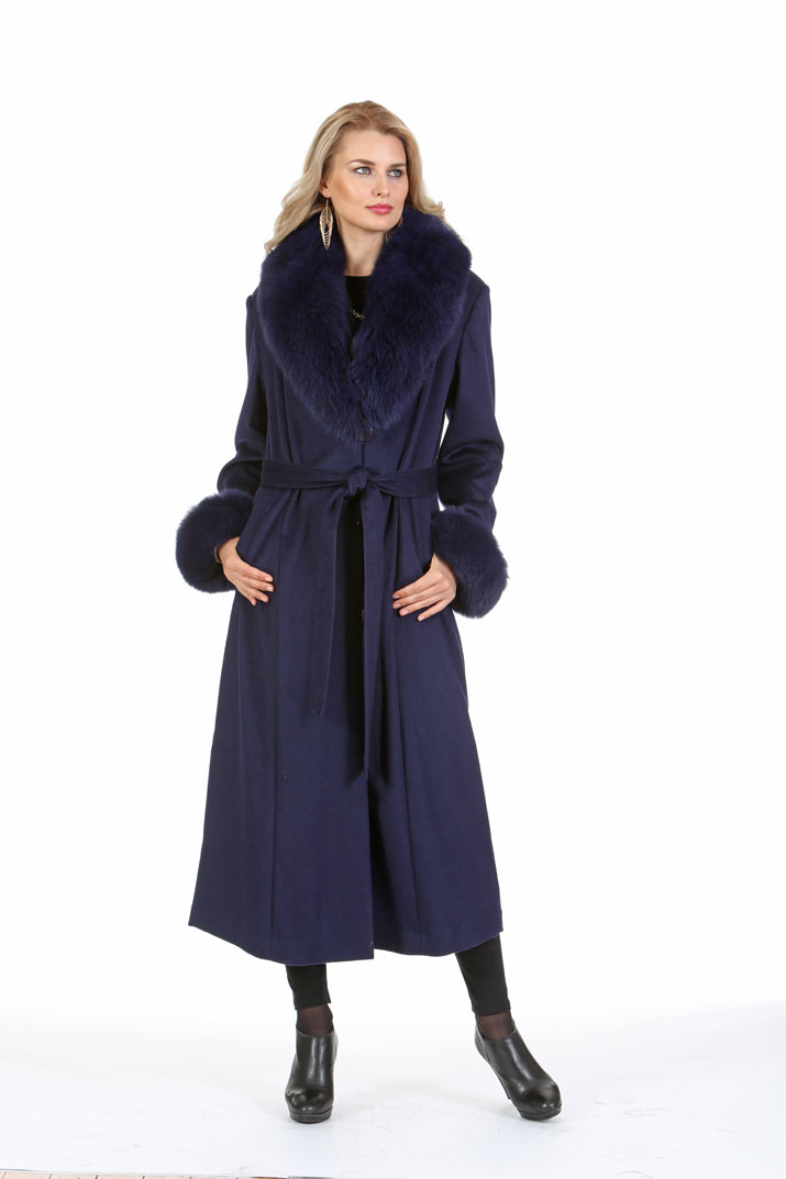 Navy Women's Cashmere Coat – Navy Fox Collar and Cuffs | Madison ...