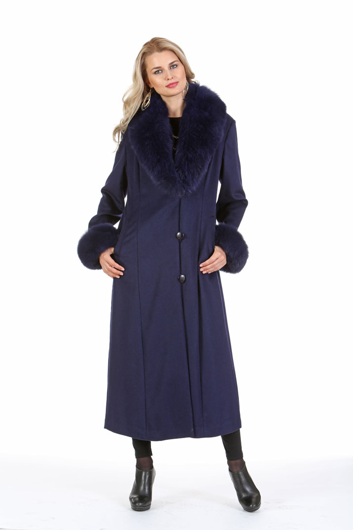 Navy Cashmere Coat – Navy Fox Collar and Cuffs – Plus Size ...