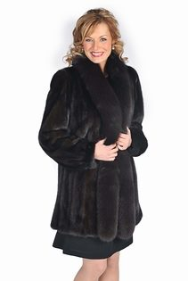 mahogany mink fur jacket with fox trim-plus size