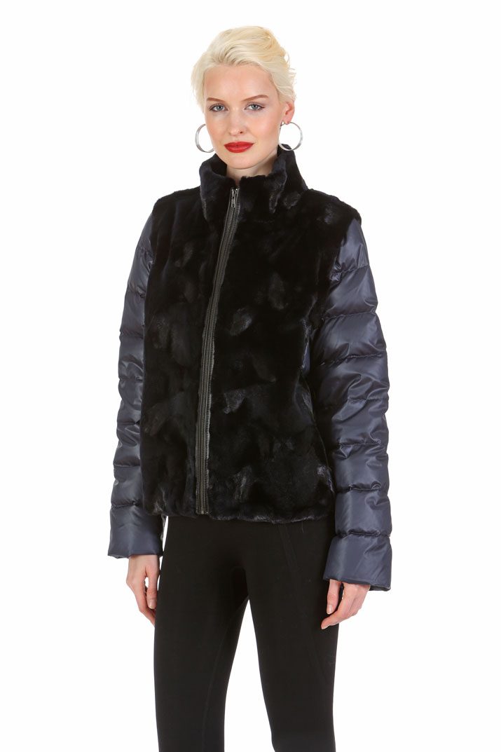 natural real mink fur jacket-quilted-navy cropped-convertible to vest