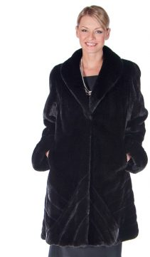 genuine mink fur jacket-ranch mink chevrons-black mink stroller