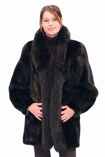 black mink fur jacket with fox trim-ranch mink jacket