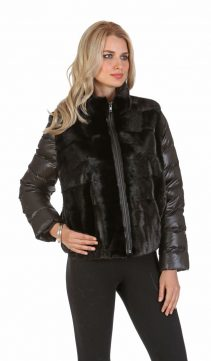 natural ranch mink-real mink jacket-cropped jacket-vest with quilted sleeve