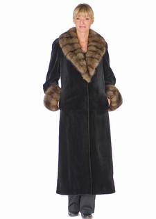 genuine sable trimmed sheared mink fur coat-long-black