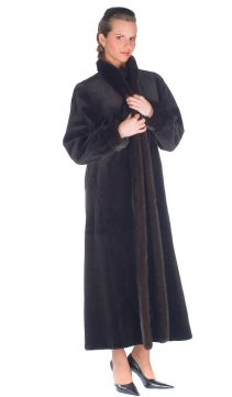natural mahogany mink sheared coat-dark brown-reversible to fabric