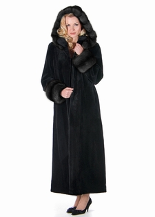 real sheared mink long coat with dark sable trimmed hood