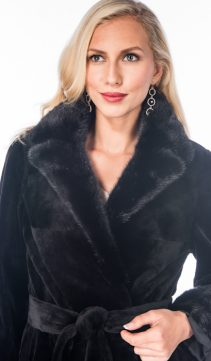 genuine real mink sheared jacket-black notch collar