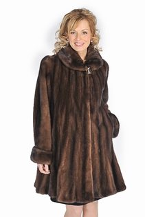 real mink jacket-soft brown-flounced hemline