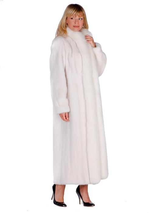 White Mink Full Length Coat – White Fox Trimmed