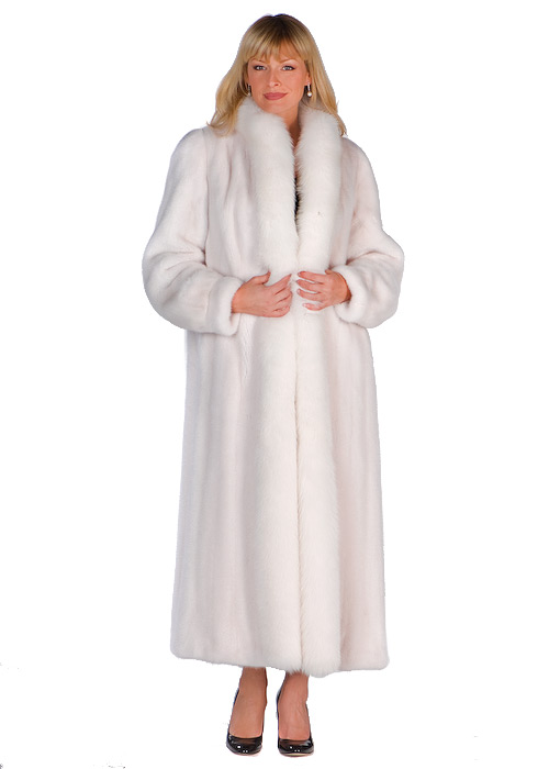 White Mink Full Length Coat – White Fox Trimmed | Madison Avenue ...