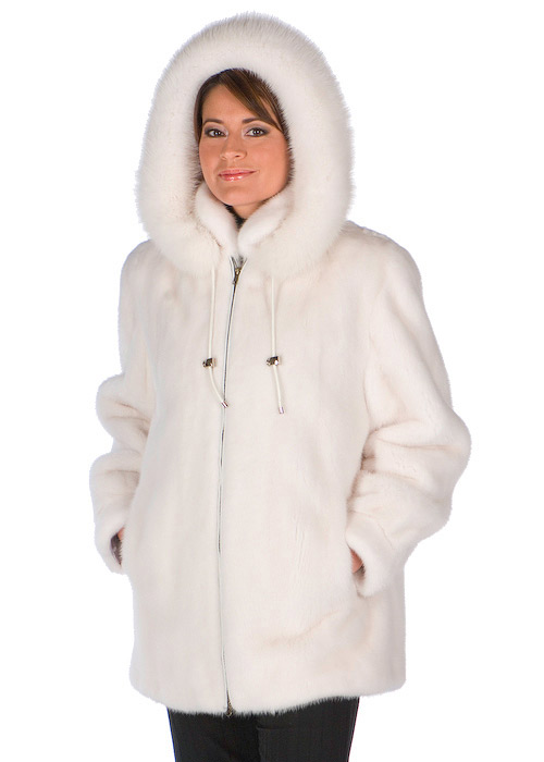White Mink Fur Hooded Jacket- White Fox FurTrim | Madison Avenue ...