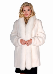 White Mink Fur Jacket – White Fur FoxTrim | Madison Avenue Mall ...