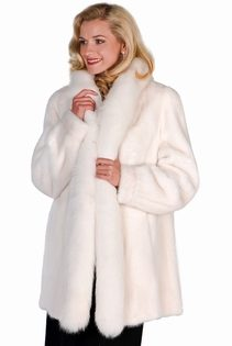 genuine mink fur jacket white-white fox fur trim