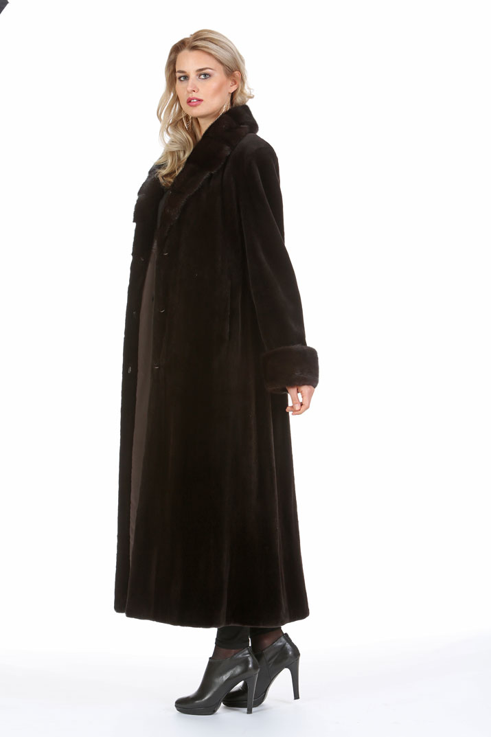 Dark Brown Sheared Mink Coat – Crosscut Mahogany Mink Collar ...