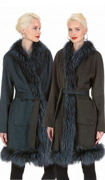 guy laroche cashmere coat-real fox fur cashmere jackets-designer-green
