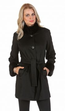 cashmere coat with mink collar-cashmere coat with mink trim