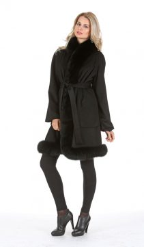 100% cashmere cape with fox fur trim