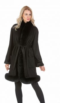women's black cashmere coat-cashmere coat with fox trim