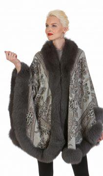 cashmere cape with grey fox trim