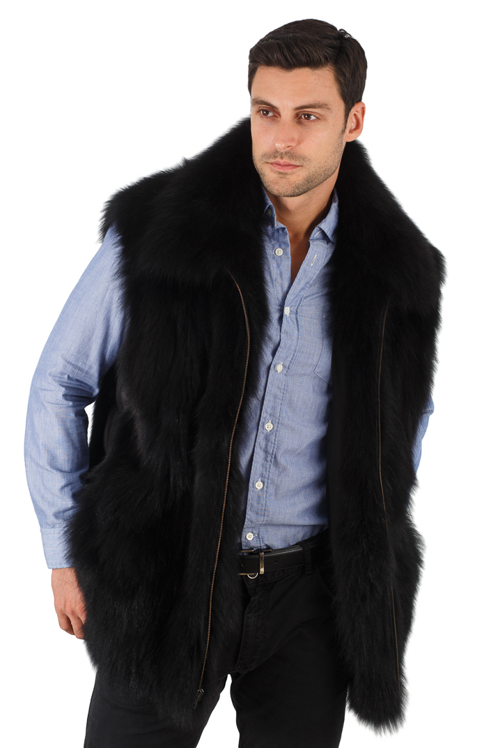 Mens Black Fox Vest - Quilted Sides Panels - Mens Black Fox Jacket