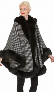 black cashmere cape-fox trimmed with cashmere cape