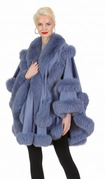 lavender cashmere women cape-cashmere cape with fox trim