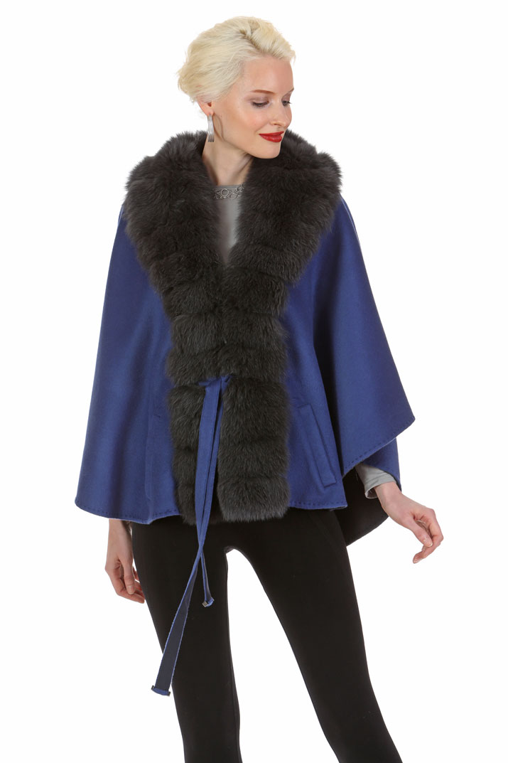 real fur trimmed hooded coats-blue fox fur coat-reversible-royal blue