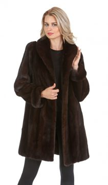 womens real mink fur jacket-mahogany mink-walking coat-modified shawl collar