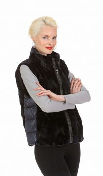 genuine navy mink cropped vest-quilted side panels-convertible to mink jacket