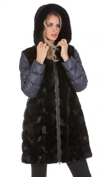 black mink fur jacket with hood-real mink long jacket-quilted sleeve-sculptured mink