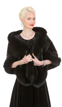 mink cape real-ranch mink cape stole-black fox fur trim