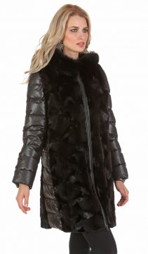 genuine mink jacket with hood-black sculptured mink ranch coat-quilted sleeve
