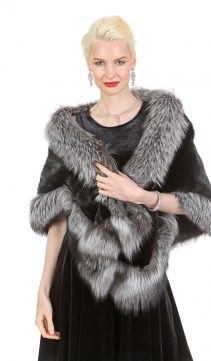 mink cape-mink fur cape-silver fox fur trim-real mink cape