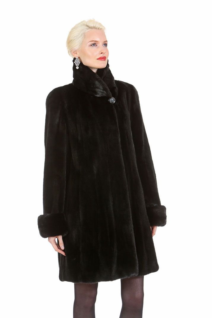 natural mink jacket-ranch mink-walking coat-modified shawl collar