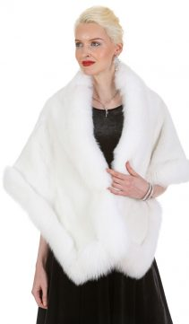 white mink cape-fox fur trim-plus size