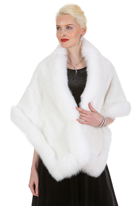 White Fur Stole >> White Mink And White Fox Stole Cape Plus Size The Lana