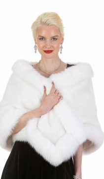 white mink with fox trim stole cape-genuine fox fur trim cape