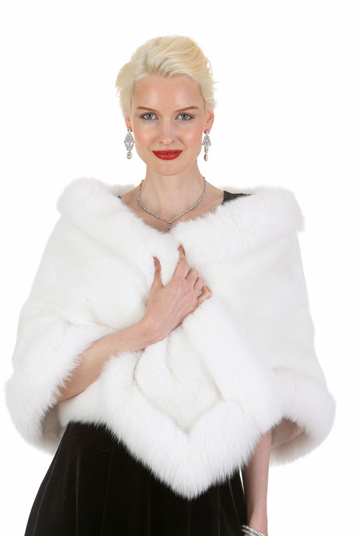 andare online ineguagliabile risparmia fino al 60% Details about Womens Real Mink Fur Stole Cape Wrap White Fox Trim - The Lana