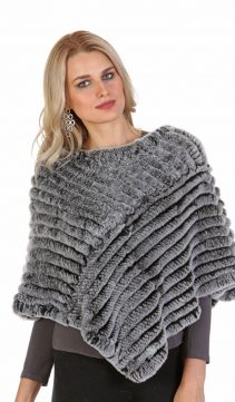 rex rabbit knitted real fur poncho cape-snow top rex