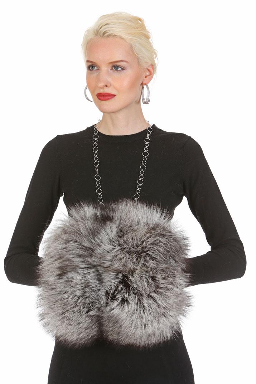 silver fox fur muffs and handwarmer muff