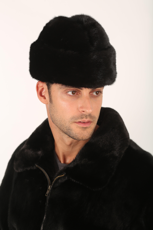 Mens Fur Hat-Mens Mink Army Cap  03fa54d1e4c2