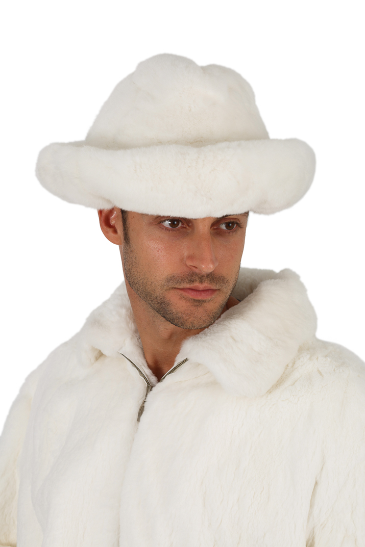 natural white fur hat for men-fedora. Enlarge Photo. Enlarge Photo 563b1d1aed90