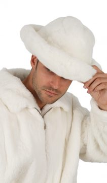 natural white fur hat for men-fedora