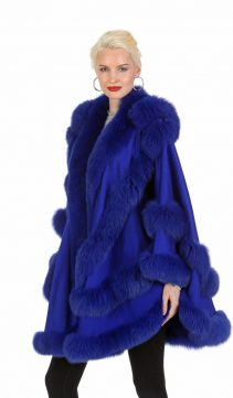 royal blue cashmere cape-cashmere fur trimmed cape