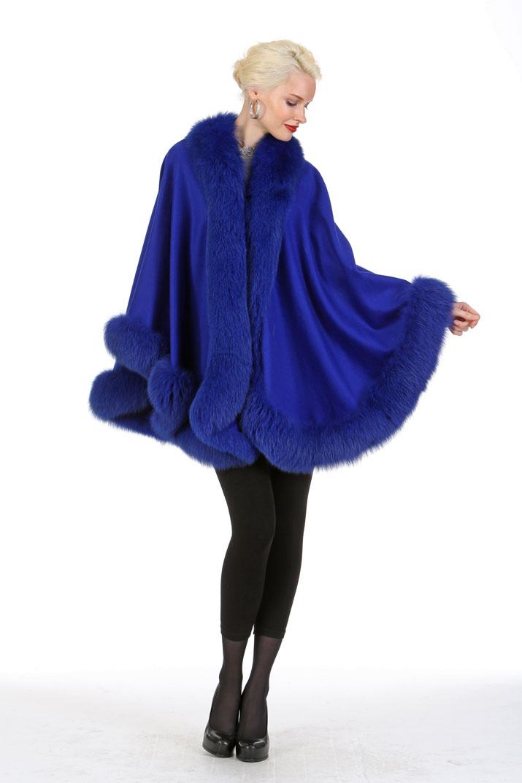 royal-blue-cashmere-cape with fur trim