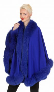 cashmere cape with fur trim-genuine fox fur trim cashmere cape