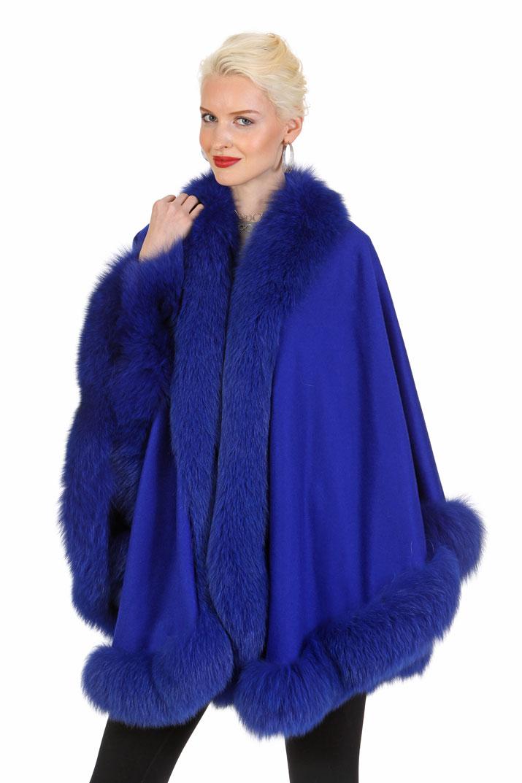 cashmere cape with fur trim-genuine fox fur trim cashmere cape