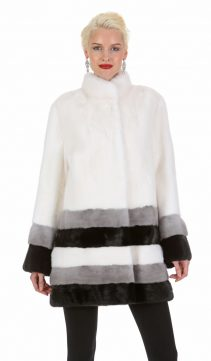 real mink jacket white-three color hem - elegance in triplicate