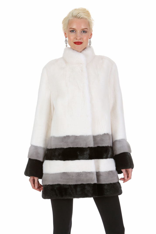 White Mink Jacket - Three Color Hem - Elegance in Triplicate